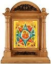 Icon cases: Oak icon case with metal ornament