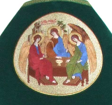 Embroidered icon of the Holy Trinity.