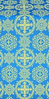 Carpathian silk (rayon brocade) (blue/gold)