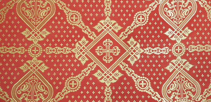 Ouglich silk (rayon brocade) (red/gold)