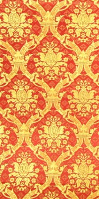 Royal Crown metallic brocade (red/gold)
