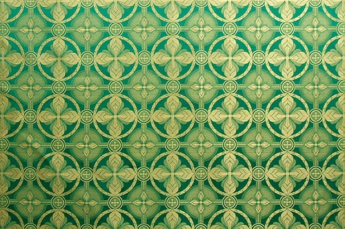 Izborsk silk (rayon brocade) (green/gold)