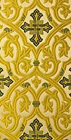 Slavonic Cross Greek metallic brocade (white/gold with green)