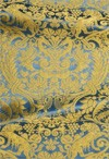 Damask metallic brocade (blue/gold)