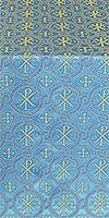 Greek Alpha-and-Omega metallic brocade (blue/gold)