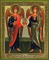 Religious Orthodox icon: Holy Archangels Michael and Gabriel