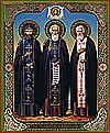 Religious Orthodox icon: Holy Venerable Nilus of Sorsk, Sergius of Radonezh, Seraphim of Sarov