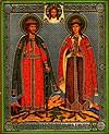 Religious Orthodox icon: Holy Right-believing Princes Boris and Gleb