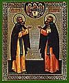 Religious Orthodox icon: Holy Venerable Sergius and Nikon of Radonezh