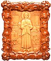 Carved icon: of Holy Blessed Xenia of St. Petersburg