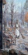 """Painting: P. Ryjenko """"Dvornik. 1918"""""""