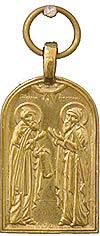 Baptismal medallion: Holy Venerable Sergius and Herman of Balaam