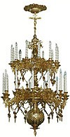 Two-level church chandelier - 9 (25 lights)