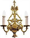 Church 2-light sconce with cross