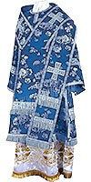 Bishop vestments - rayon Chinese brocade (blue-silver)