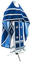Russian Priest vestments - natural German velvet (blue-silver)
