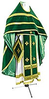 Russian Priest vestments - natural German velvet (green-gold)