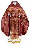 Embroidered Russian Priest vestments - Chrysanthemum (claret-gold)