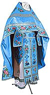 Embroidered Russian Priest vestments - Eden Birds (blue-silver)