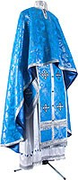 Greek Priest vestment -  metallic brocade B (blue-silver)