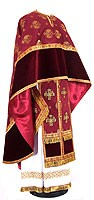 Greek Priest vestment -  metallic brocade B (claret-gold)