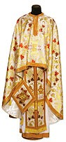 Greek Priest vestment -  metallic brocade BG4 (yellow-claret-gold)