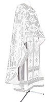 Greek Priest vestment -  metallic brocade BG4 (white-silver)