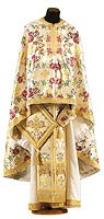 Greek Priest vestment -  metallic brocade BG5 (white-gold)