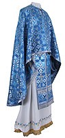 Greek Priest vestment -  rayon brocade S2 (blue-silver)