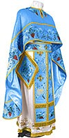 Embroidered Greek Priest vestments - Chrysanthemum (blue-gold)