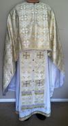 "Greek Priest vestment set (white/gold Greek meallic brocade): 46-47"" (European size: 58-60), height- 70-73"" (178-182 cm)"