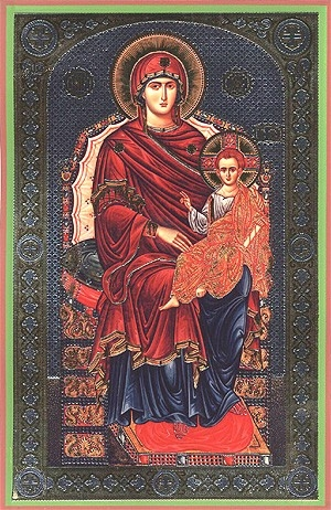 Religious Orthodox icon: Theotokos on the Throne
