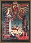 Religious Orthodox icon: Holy Metropolitan Alexis of Moscow and Holy Venerable Alexis a Man of God