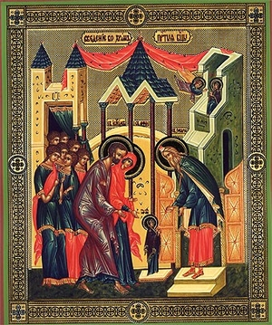 Religious Orthodox icon: The Entry of the Most Holy Theotokos into the Temple