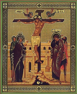 Religious Orthodox icon: Crucifixion of the Lord