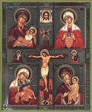 Religious Orthodox icon: Four-part icon with Crucifixion