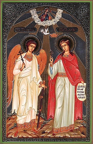 Religious Orthodox icon: Holy Great Martyr Marina and Guardian Angel