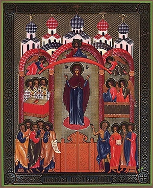 Religious Orthodox icon: Protection of the Most Holy Theotokos