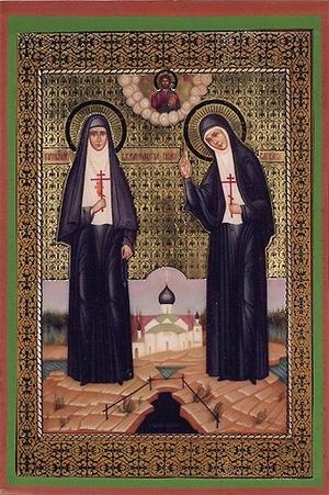 Religious Orthodox icon: Holy Hosiomartyress Great Princess Elizabeth and nun Barbara