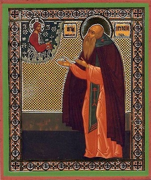 Religious Orthodox icon: Holy Venerable Anthony of Siysk, the Wonderworker