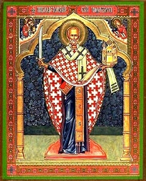 Religious Orthodox icon: Holy Hierarch Nicholas the Wonderworker of Mozhajsk - 1