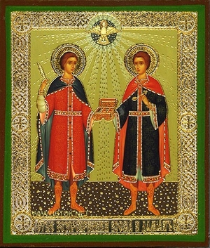 Religious Orthodox icon: Holy Wonderworkers Cosmas and Damian