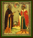 Religious Orthodox icon: Holy Venerable Sergius of Radoezh and Right-believing Great Prince Demetrius of Don