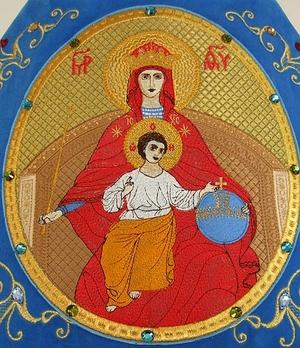 Embroidered icon: Theotokos of the Power (Derjavnaya)
