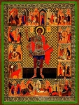 Religious Orthodox icon: Holy Great Martyr George the Winner (with life scenes)