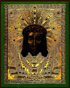 Religious Orthodox icon: Holy Napkin (with crown of thorns)