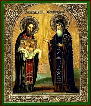 Religious Orthodox icon: Holy Venerable Elders Theodosius and Anthony of the Kievan Caves