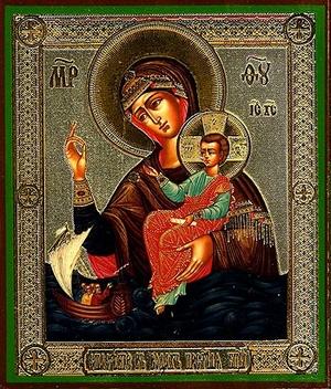 Religious Orthodox icon: Theotokos the Savior on Waters