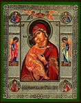 Religious Orthodox icon: Theotokos of Vladimir (with life scenes)