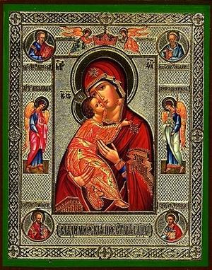 Religious Orthodox icon: Theotokos of Vladimir (with life scenes)